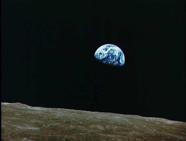 Earth seen from moon via Apollo 8 astronauts in 1968