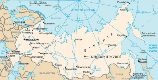 Map with Russia in light tan, with red dot near center of Siberia.