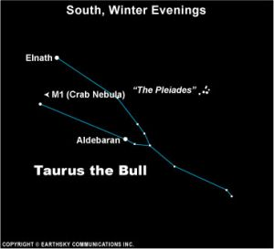 Chart of constellation Taurus with labeled stars and Pleiades close by.