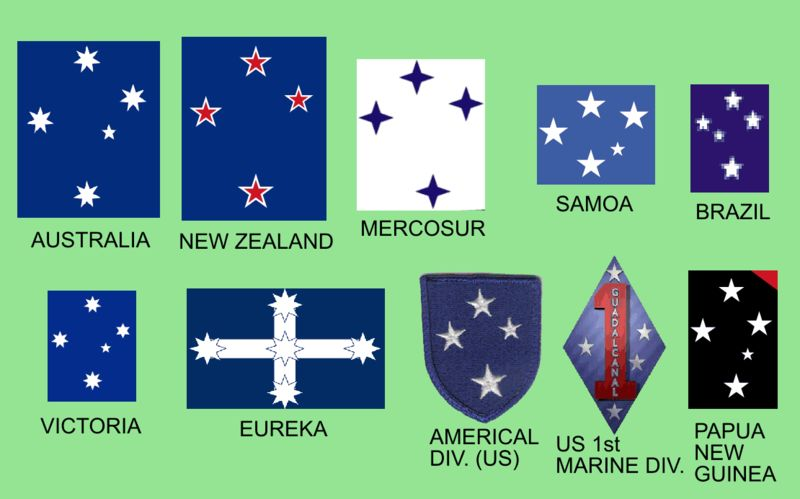 Flags of many nations and provinces with Southern Cross on them.