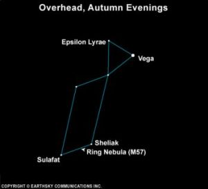 The constellation Lyra the Harp is small and compact - easy to see.  It's a triangle on top of a parallelogram.  Epsilon Lyrae is near Lyra's brightest star, Vega.