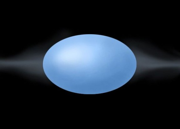 Blue star, a flattened sphere.