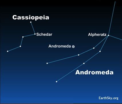 Chart of constellations Cassiopeia and Andromeda with location of Andromeda galaxy marked.