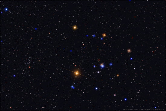 Hyades star cluster.  Copyright 2012 Jerry Lodriguss.  Used with permission.  This image was the Astronomy Picture of the Day for December 24, 2012.