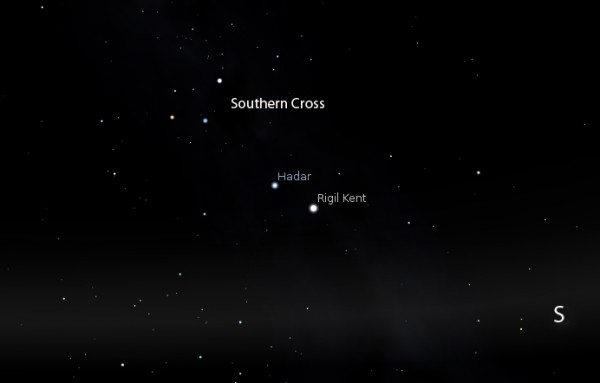 Hadar (Beta Centauri) and Rigil Kent (Alpha Centauri) are known as the Southern Pointer Stars because they point to the Southern Cross.  Image via Stellarium and nightinfocus.