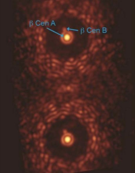 This is a double image of the star beta Centauri taken through an experimental version of the vector-APP coronagraph installed at MagAO. Both images of the star contain a dark region that covers the complete 360 degrees around the central star. In both cases, the binary companion to beta Centauri is easily detected. Image via Leiden University, University of Arizona.