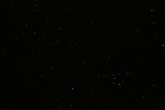 Star field photo with scattered stars and small but visible Coathanger asterism.