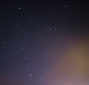 The Pleiades, Hyades and Orion.