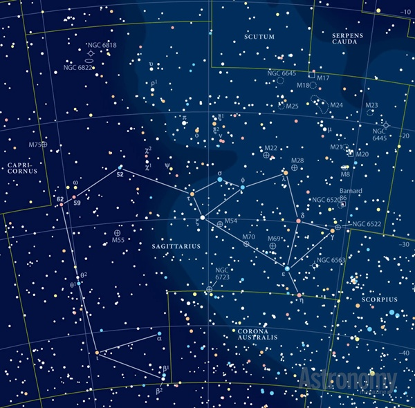 Chart with very many stars, outlines of constellations, and other objects marked.