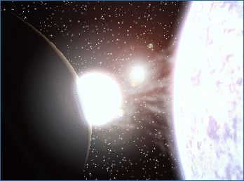 Artist's concept of Spica from hypothetical planet