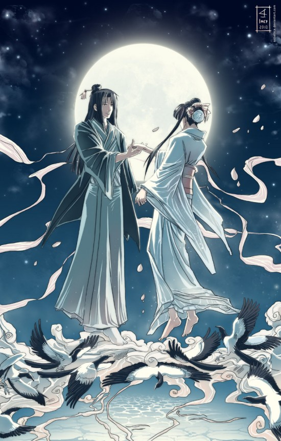 Tanabata and her lover meet on a bridge of magpies across the Celestial River, each year on the 7th night of the 7th moon.  Image by Anhellica via Lilliacerise's blog