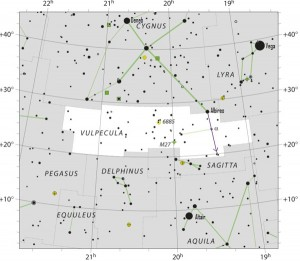 Star chart of constellation Vulpecula with stars in black on white.