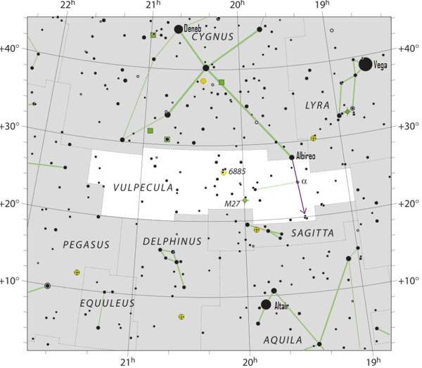 Star chart showing the Summer Triangle and constellation Cygnus.