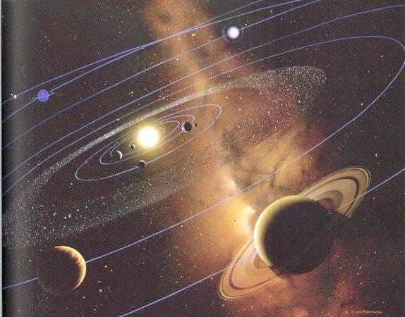 Concezione artistica del sistema solare con la galassia della Via Lattea sullo sfondo.'s concept of solar system with the Milky Way galaxy in the background.