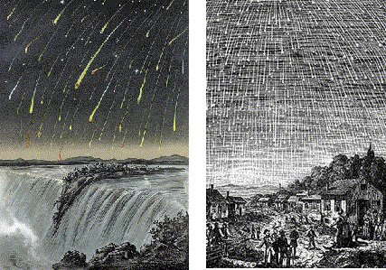 Etchings of meteors over Niagara Falls and a scene with people looking up at meteors.