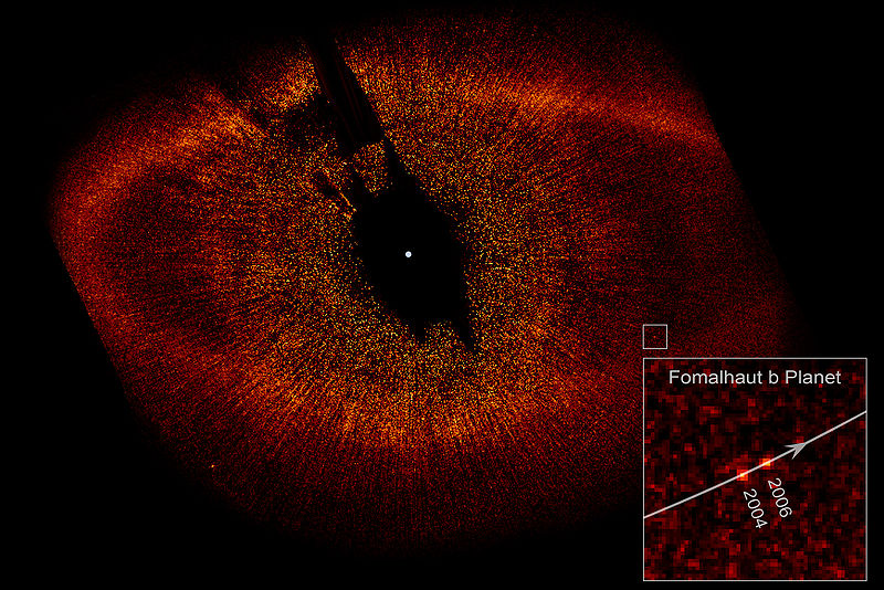 This image shows the debris ring around Fomalhaut and the location of its first known planet. This is the actual discovery image, published in the journal Science in November, 2008. Fomalhaut b was the first beyond our solar system visible to the eye in photographic images. Image via Hubble Space Telescope.