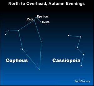 Star chart of constellations Cepheus and Cassiopeia with Delta Cephei labeled.