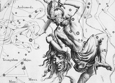 Antique star chart etching with Greek hero with sword in one hand and Medusa's head in the other.