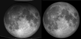The image at left shows a penumbral eclipse.  The image at right shows a full moon with no eclipse.  This image is from Wikimedia Commons.