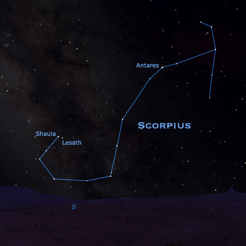 The J-shaped constellation Scorpius the Scorpion, with brightest star Antares and Stinger stars Shaula and Lesath via starrynighteducation.com