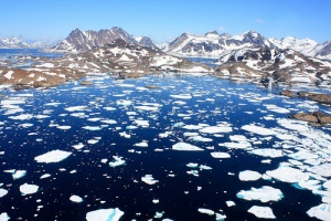 floating ice in Greenland helicopter view