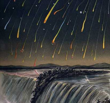 This is a famous woodcut of the 1833 Leonid meteor storm.  No Leonid storm is expected this year, but if you watch in the next few mornings you might see a few meteors!