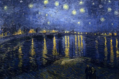 Mostly blue painting with bright fuzzy yellow spots in the sky reflected in a harbor.