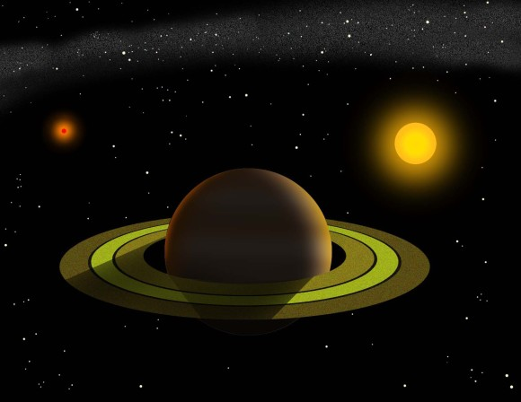 Artist's conception of the planet and its view of the two stars that make up the Gamma Cephei system. The planet orbits the bright yellow star on the right every 2.5 years. [larger view]  Image and caption via Tim Jones/McDonald Observatory.