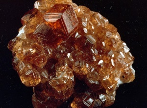 Cluster of red to brown natural garnet crystals.
