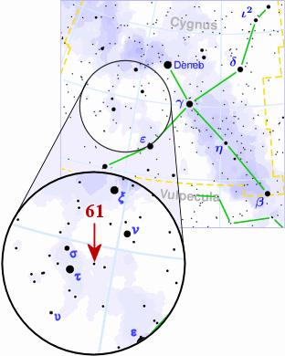 Star chart of constellation Cygnus showing location of dim star 61 Cygni.
