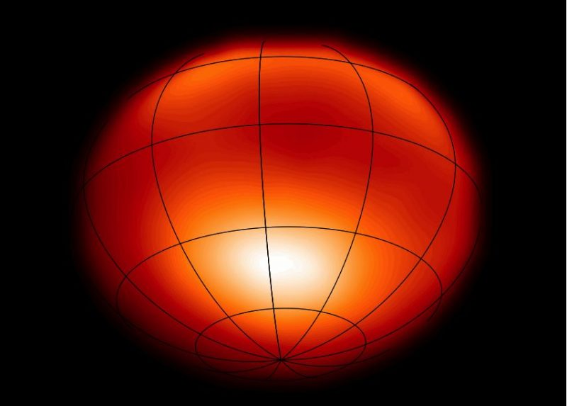 Fuzzy-edged flattened orange globe with latitude and longitude lines drawn on.