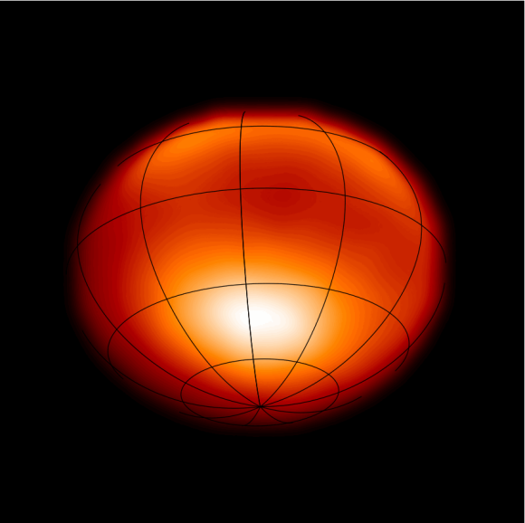 Astornomers used the CHARA array to learn the inclination, polar and equatorial radius and temperature, as well as the fractional rotation speed of Alpha Cephei.  Read about this work here.