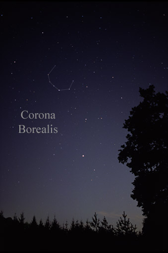 The seven stars that make up the constellation's figure are all 4th-magnitude stars, except for the constellation's brightest star, Alpha Coronae Borealis.  Photo by AlltheSky.com via Wikimedia Commons.
