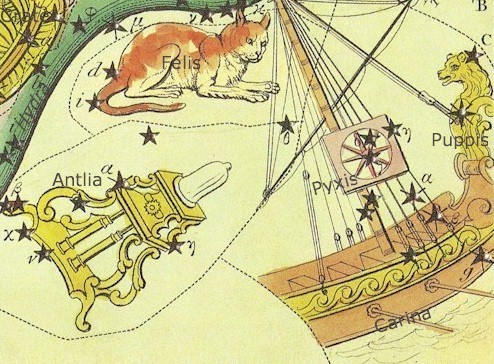 Antique colored etching of constellations Carina and Antlia.