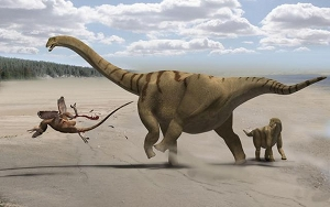 An artist's depiction of a mother Brontomerus mcintoshi protecting her baby. By Francisco Gascó with Mike Taylor and Matt Wedel.