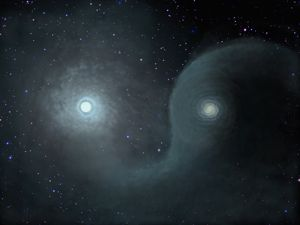 Two stars wrapped in a strange-shaped semi-spiral dust cloud.