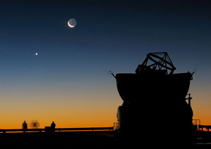 Sunset View of Moon and Venus