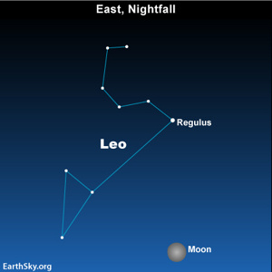 Moon in front of Leo at nightfall, March 18