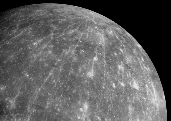 The impact crater Hokusai on Mercury has an impressive system of rays emanating as much as a thousand kilometers (more than 600 miles). Image credit: Credit: NASA/Johns Hopkins University Applied Physics Laboratory/Carnegie Institution of Washington.