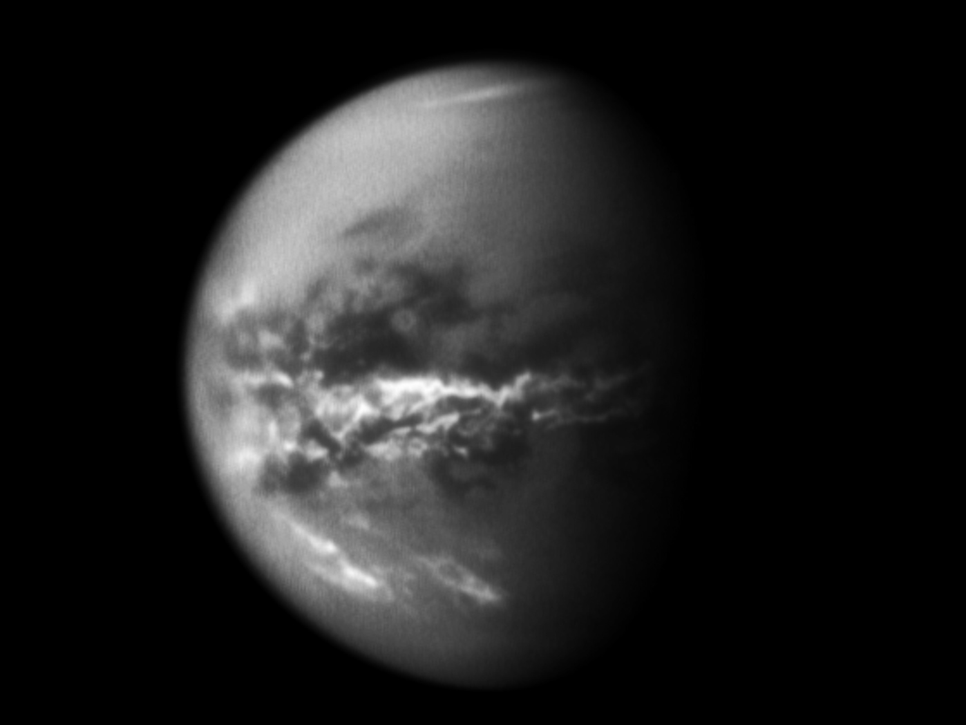 Clouds near Titan's equator. Image credit: NASA/JPL/SSI