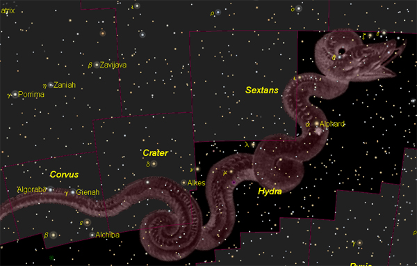 Drawing of a wiggly snake in a star field with the Hydra stars labeled down its length.