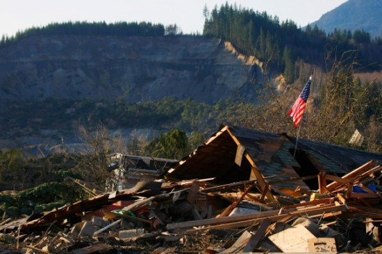 Devastation from Washington mudslide, via Washington Post.