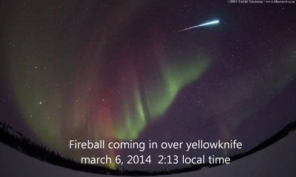 Fireball!  Against the backdrop of the northern lights, no less.  Captured March 6, 2014 by Yuichi Takasake in Canada.