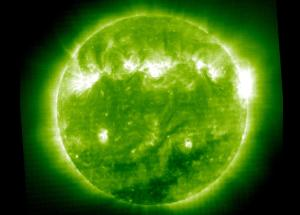 The sun in extreme ultraviolet, false color green
