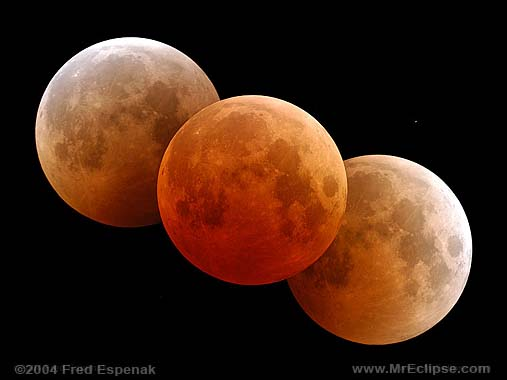 Mosaic of three moons, the side ones light orange and the middle one red-orange.