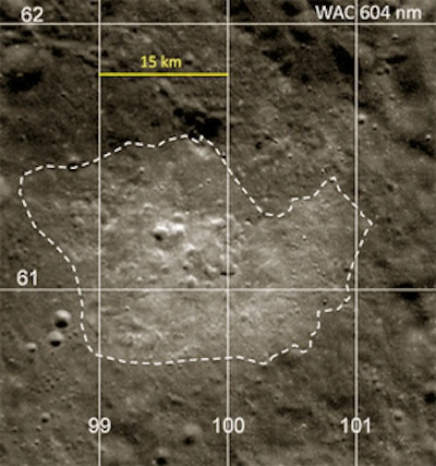 Bright anomaly region on moon