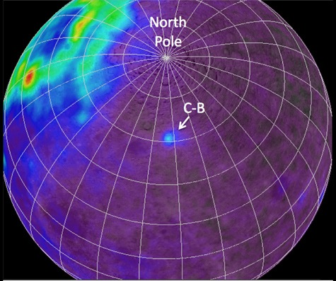 Radioactive element Thorium mapped on moon, far side shows anomaly (C-B)