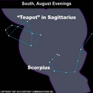 On August evenings, when there is no moon, go to a dark location to look toward the center of the Milky Way galaxy.  It's located more or less in the direction of the famous Teapot of Sagittarius.