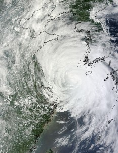 Tropical Storm Muifa in the Yellow Sea on August 6, 2011 affecting China and South Korea.