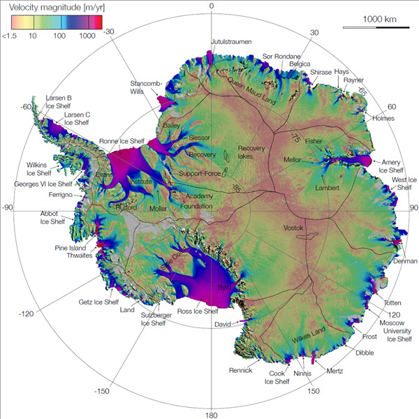 Antarcticas first complete ice flow map Earth EarthSky